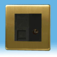 Varilight 2 Gang Datagrid Plate Screwless Brushed Brass + RJ45 Cat 5e Module + Co-axial TV Socket